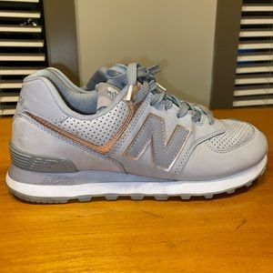 New Balance 574 Gray and Rose Gold